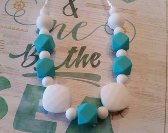 Silicone beaded Teething Necklace, White and Turquoise, Nursing Necklace, 100% Food Grade Silicone, Teething Beads, BPA Free, fidget jewelry