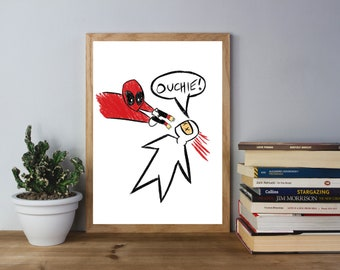 Ouchie! Deadpool Crayon Sketch - Movie Comic Inspired Art Print - (Available In Many Sizes)