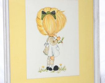 Girl with Flower Lynn Santarlasci Framed Picture -- 17 x 13 -- Matted, Glass, Backed -- Girl, Flowers, Print, Art, Yellow
