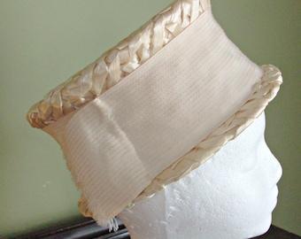 Vintage Ivory Woven Dress Hat