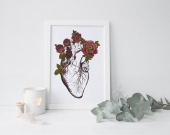 Anatomical Heart Print, Vintage Heart, Vintage Anatomy, Heart Anatomy, Heart Art, Vintage Illustration, Anatomical Print, Flower Heart