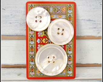 Three Vintage Pearl Oyster Shell Buttons - Pearl Oyster Shell Buttons - Vintage Buttons   (#28)