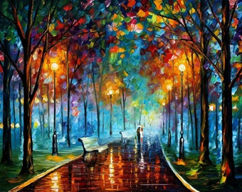 Landscape Wall Art Oil Painting On Canvas By Leonid Afremov - Misty Mood 2