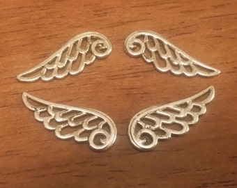 Wing Charms - 24 pc. - Angel Wing Charms - Lacy Wings - Lead Free - Lead Free Charms - Silver Wings - Silver Wing Charms