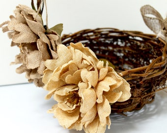 Rustic Flower Girl Basket  / Flower Girl Wedding Basket / Twig Basket / Wedding Decorations / Burlap Flower Basket / Rustic Wedding