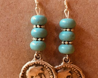 Howlite earrings with silver coin charm