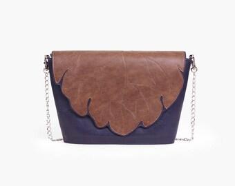"Crossbody Purse ""Ilana Fall Blue"", Autumn Bag, Leather Crossbody Bag, Small Leather Bag, Genuine Leather Crossbody Purse / Blue bag"