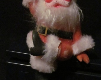 """Vtg Christmas Flocked Sitting Shelf Sitter Santa Decoration Kurt Adler Hong Kong 8"""" Plastic"""