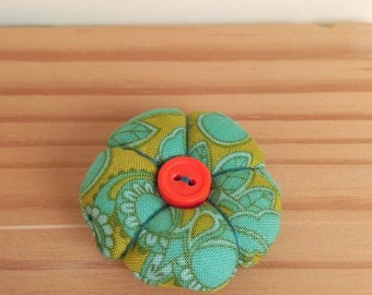 Paisley print fabric flower brooch textile pin accessory