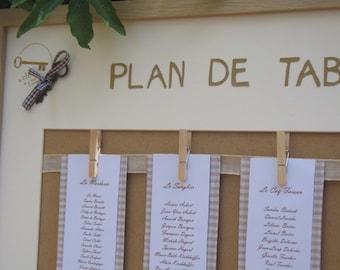 Plan de table  mariage dentelle  format XL (52 X 72cm)