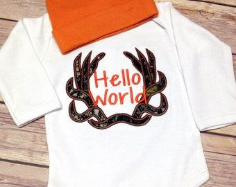 Hello World - Camo Baby Coming Home body suit – Hunting - Hello World Camo - camo baby gown