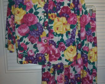 Dress 14, Two Piece Floral Gorgeous, Last Roses of Summer Dress, Designers 80s Beauty, - see details and designer