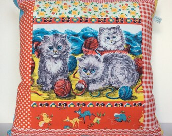 Vintage Patchwork 'Apron' Kitten Cat Cotton Cushion 35 cm