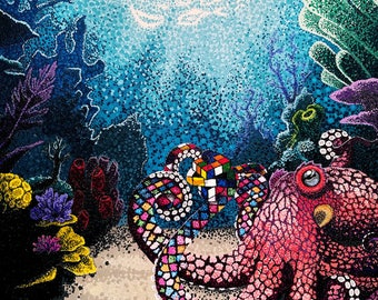 Fine Art Print of Pointillism Painting: Octopuzzled by Christie A. Thompson