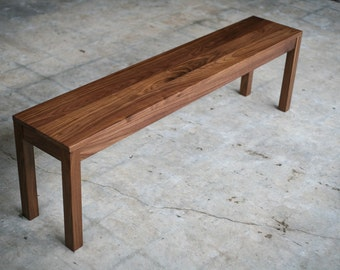 Solid Wood Parsons Bench   Customizable