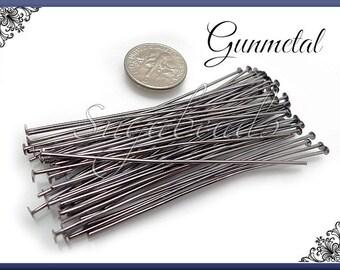 100 Gunmetal Head Pins 60mm 2.38 inches 21 Gauge