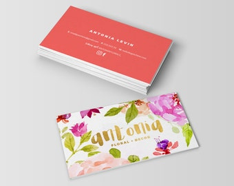 Antonia Floral Gold Double Sided Business Card - Instant download