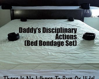 Daddy's Disciplinary Actions: Bed Bondage Set (Free Blindfold Included) BDSM and Fetish
