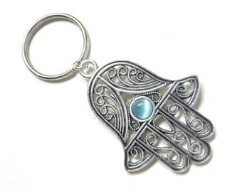 Hamsa Keychain Yoga Accessories Evil Eye Protection Turquoise Hand Of Fatima Bag Charm Keychaine Bag Accessories Birthday Gift Under 15
