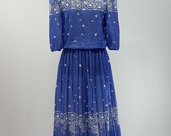 80s Vintage Tradition Sears Dress/ Lilac Blue/ Paisley Design/ Size 10/ Medium/ Made in Canada