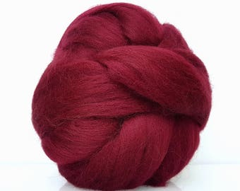 Wool roving for felting and spinning. Extrafine Merino Top 19 microns. Combed. Grape color, burgundy, Bordeaux,