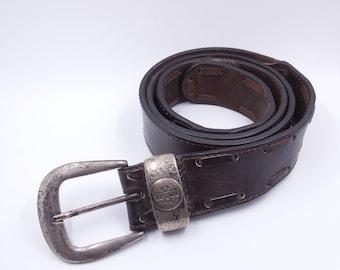 FILRUND vintage aged look - Made gold metal buckle brown leather belt in France
