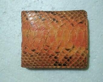 ORANGE PYTHON WALLET Genuine Python Snakeskin Bifold Wallet