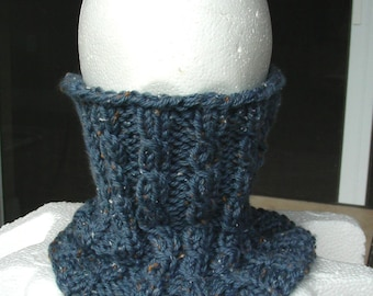 Cowl Endless Infinity Scarf cabled ribbed hand knit  in steel blue tweed endless scarf neckwarmer
