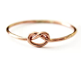 Ring - Dainty True Lover's Knot Ring - 14K Rose Gold Filled Love Knot  - 925 Sterling Silver - Promise - Friendship - Best Friend
