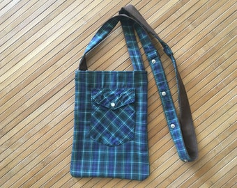 plaid purse made from recycled western shirt