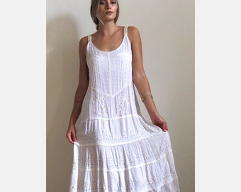 Vintage 1990s White Bead Embroidered Dress