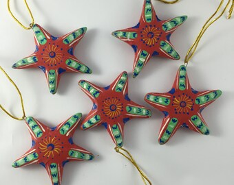 Red Stars Decorations pack of 5
