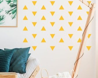 48 triangle wall stickers. Modern Pattern Decals. Vinyl Triangles. Scandi Gift Ideas. Pyramid wall stickers. Vinyl Sticker. Pyramid Decal
