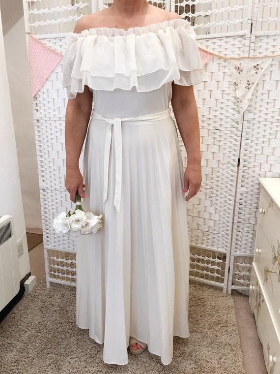 vintage shoulder 14 Bohemian 12 Wedding UK dress Boho Dress the 1970s Off 16 wedding original Op0cIq
