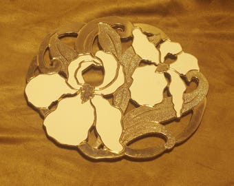 Ornate Gold Tone Trivet with White Iris Floral Pattern