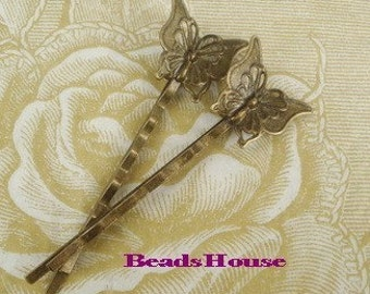 HC-37Ant  12 Pcs Antique Brass Bobby Pin W/Petite Butterfly NICKEL FREE