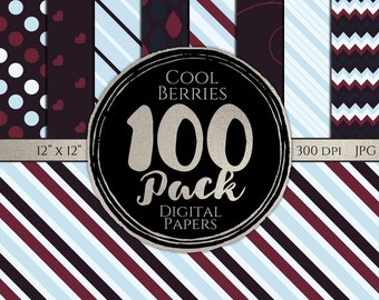 Digital Paper 100 Pack - Cool Berries - Commercial Use, Cool Berry Digital Patterns