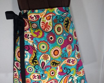 women short wrap skirt,casual cotton skirt,hippy clothing,spring,summer skirt handmade teal blue printed  skirt one of a kind ready to ship