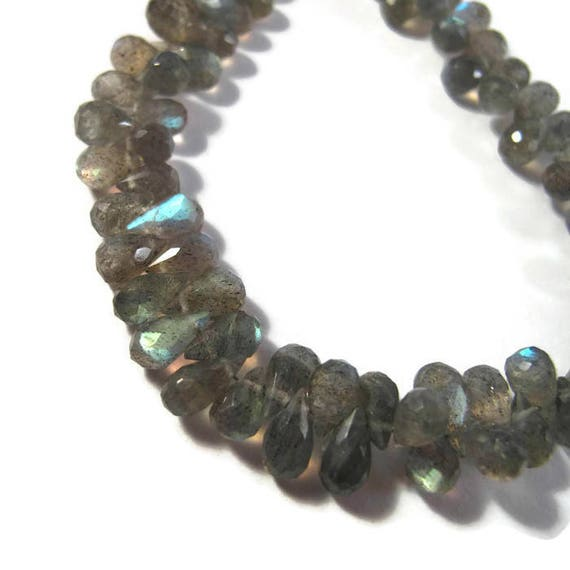 Natural Labradorite Beads, Tiny Gemstone Briolettes, 8 Inch Strand, Natural Labradorite 5.5mm x 4mm - 9mm x 5mm (B-Lab3c)
