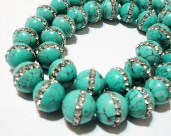 Turquoise Round Beads - Inlaid Embedded Clear Rhinestone - Turquoise Howlite Gemstone - 11mm (4) Beads - Diy Bridal Jewelry - Bulk Options