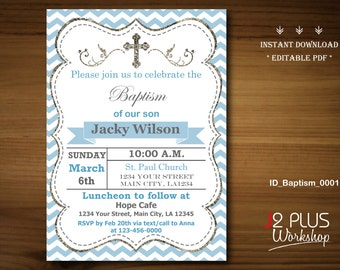 Printable Instant Download Baptism Invitation for a Boy