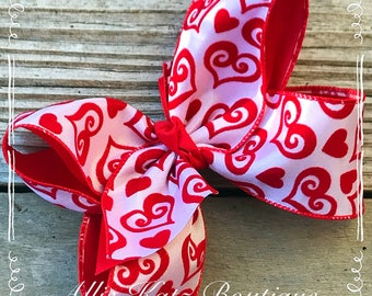 """6"""" Valentine bow white with red flocked hearts"""