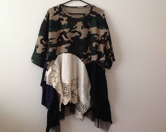 Urban Chic Camo Sweatshirt Tunic Upcycled Clothing Refashioned Boho Shabby Funky Unique Lagenlook Top. Women's Plus Size 2x to 3x.