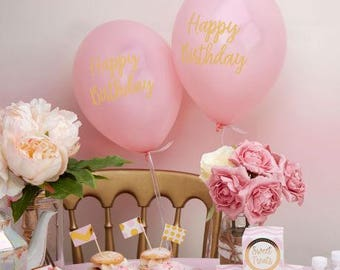 "Balloons pink ""Happy Birthday"""