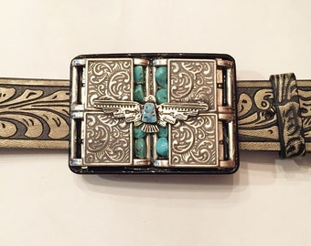 Southwestern Eagle with Turquoise Buckle and Belt Strap