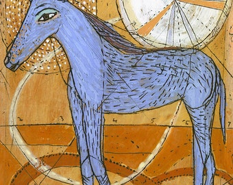 Print - Limited Edition - Blue Horse - Jenny Mendes Giclee