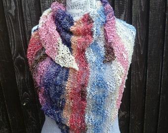 Blue Pink Purple Shawl Wrap, Hand Knit Wrap Shawl, Cotton Acrylic Triangle Wrap, Festival Boho OOAK Shawl Wrap Shawlette, ClickClackKnits