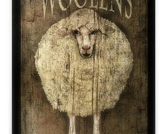 Wooly Sheep Folk Art - Wood Sign - Ready To Display - Large 11''x14'' - Primitive Art - Handmade In The Heart Of Ohio
