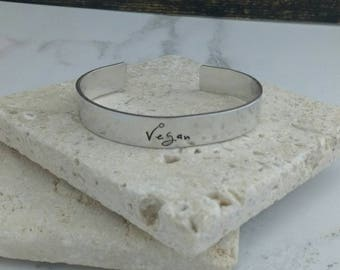 Simple vegan 12mm cuff bracelet, handstamped available in aluminium copper brass or sterling silver