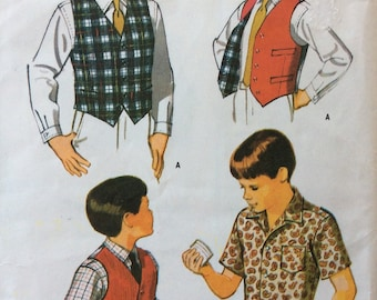 CLEARANCE!!  McCall's 8971 boys shirt and vest size 14 chest 32 vintage 1960's sewing pattern